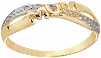 Moon & Back 9ct Yellow Gold Diamond Accent 'Mum' Ring