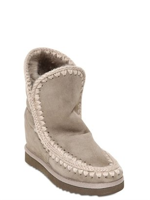 Mou 70mm Shearling Wedged Ankle Boots