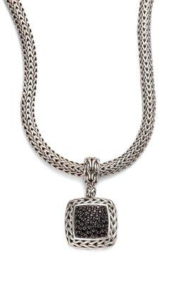 John Hardy Classic Chain Black Sapphire & Sterling Silver Medium Square Pendant