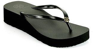 Tory Burch Thin Wedge Flip Flop - Black Rubber Wedge Thong Sandal