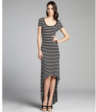 BCBGMAXAZRIA black and white striped jersey knit high-low t-shirt dress