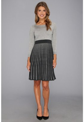 Calvin Klein Sweater Dress CD3W1B64 (Light Tin Heather/Charcoal) - Apparel
