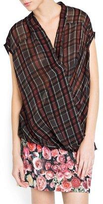 MANGO Plaid wrap blouse