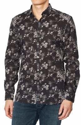 John Varvatos Clayton Cotton-Blend Printed Shirt