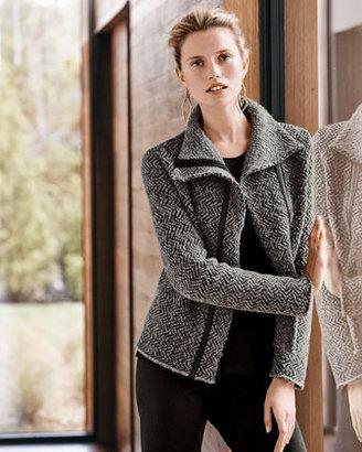 Eileen Fisher Herringbone Zip-Front Jacket