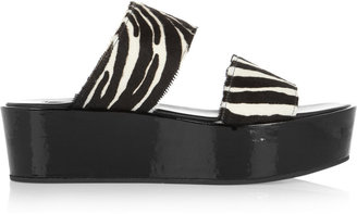 Michael Kors Calf hair and patent-leather wedge sandals