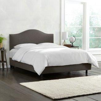 Wayfair Custom Upholstery Emilia Upholstered Standard Bed Size: Twin, Body Fabric: Linen Cindersmoke