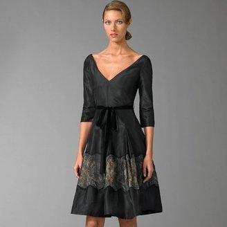 Teri Jon Lace-Trim Silk Dress