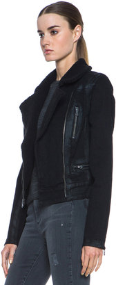 Paige Coated Jacket with Shearling Collar in Night Flight