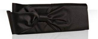 Christian Louboutin black satin bow clutch