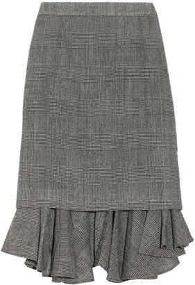 Creatures of the Wind Ruffled-hem plaid woven wool skirt