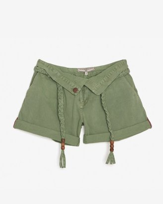 WGACA What Goes Around Comes Around Belted Canvas Foldover Shorts
