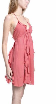 L'Agence Halter Mini Dress in Coral