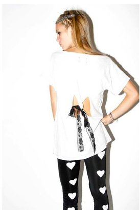 Sauce Lace-Tie Bow Tee in White