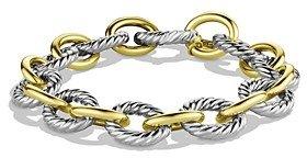 David Yurman Oval Large Link Bracelet with Gold, 7.5