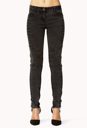 Forever 21 Zippered Acid Wash Moto Jeans