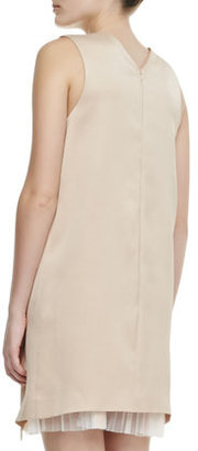 Christopher Kane High-V Cutaway Pleat-Inset Dress