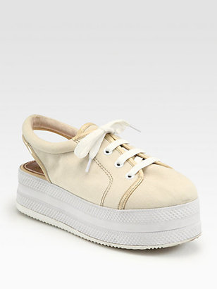 Opening Ceremony Canvas & Patent Lace-Up Platform Sneakers