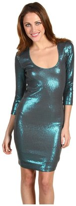 Nicole Miller Stretch Sequins Open Back Long Sleeve Dress (Turquoise) - Apparel