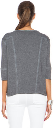Helmut Lang Cold Dye High Low Poly-Blend Sweatshirt in Cave Grey