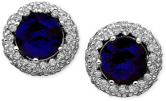 Crislu Earrings, Platinum over Sterling Silver Blue Corundum (1-3/4) and Cubic Zirconia (1/2 ct. t.w.) Button Earrings