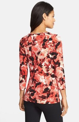 Chaus Painterly Floral Print Faux Wrap Keyhole Top