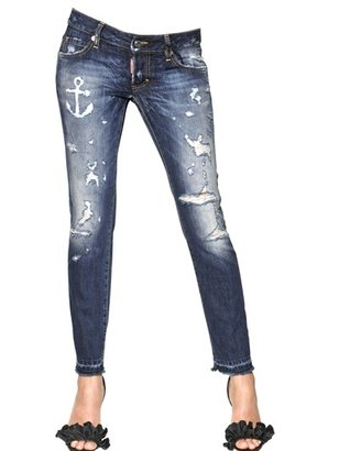 DSquared Destroyed Cotton Denim Cropped Jeans