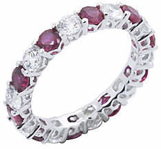 Diamonique & Simulated Ruby Eternity Band Ring,