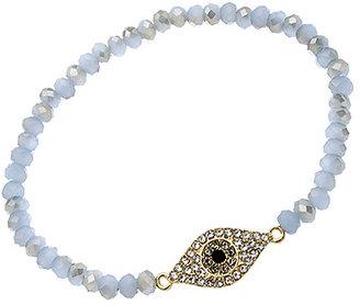 Blu Bijoux Gold Crystal and Grey Beaded Evil Eye Bracelet