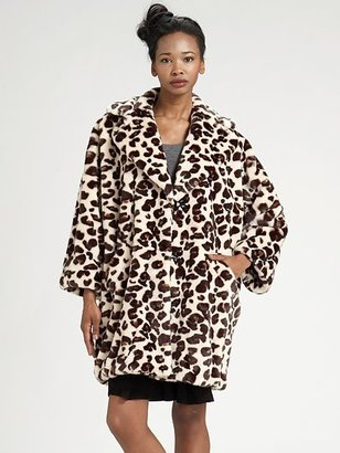 Sonia Rykiel Sonia by Oversized Animal-Print Coat