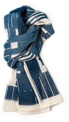 Lee Coren Block Cotton Scarf Royal Blue
