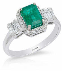 Effy 14K White Gold Emerald Ring with 0.37 TCW Diamonds