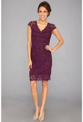 Adrianna Papell Diagonals Scallop Dress (Dusty Plum) - Apparel