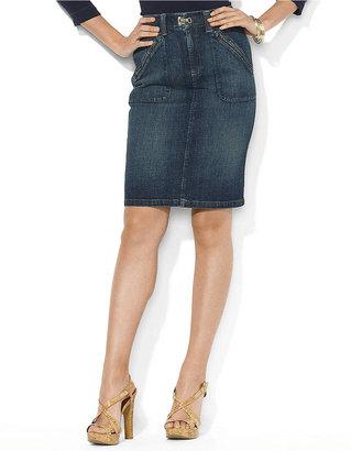 Lauren Ralph Lauren Zip-Pocket Denim Skirt
