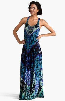 Donna Morgan Embellished Print Matte Jersey Maxi Dress