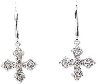 King Baby Studio Pav CZ MB Cross Lever Back Earrings (Sterling Silver) - Jewelry