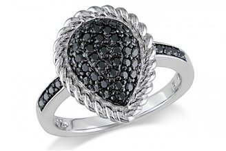 Ice 1/2 CT Black Diamond TW Silver Fashion Ring