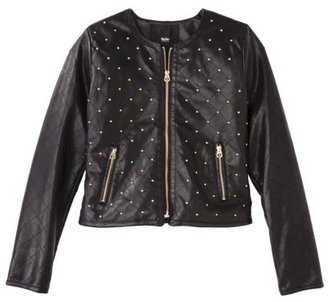 Mossimo Women's Studded Faux Leather Jacket -Black