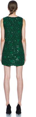 Alice + Olivia Elliotte Embellished Shift Dress in Juniper & Black