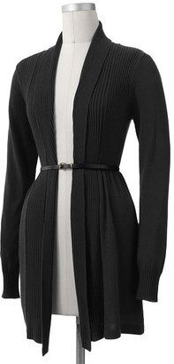 Ab studio ribbed open-front cardigan
