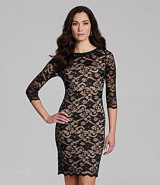 Marina Beaded-Neck Lace Dress