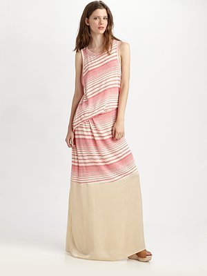 Clu Striped Crewneck Maxi Dress