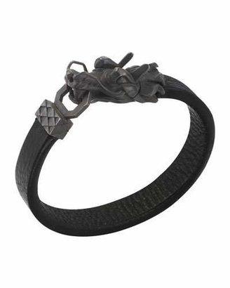John Hardy Naga Men's Dragon-Head Leather Bracelet, Black $550 thestylecure.com