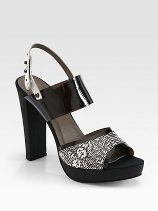 L'Agence Lauren Lizard Platform Sandals