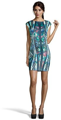 Romeo & Juliet Couture blue floral stretch jersey sleeveless dress