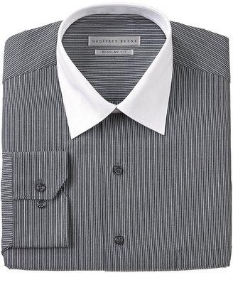Geoffrey Beene Dress Shirt, Black White Striped White Collar Long Sleeve Shirt