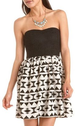 Charlotte Russe Lace Top Geo Print Tube Dress