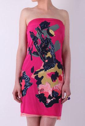 DKNY Strapless Rosette Embellished Dress