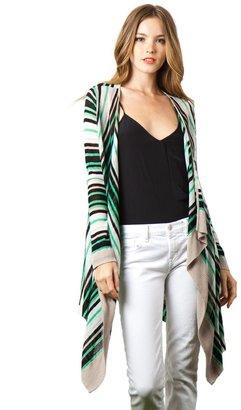 525 America Linen Viscose Stripe Flyaway Cardigan