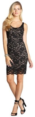 Wyatt black lace bead and sequin embellished scallop hem tank dress